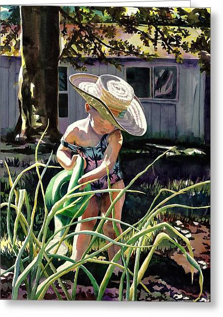 Watering The Onions Greeting Card