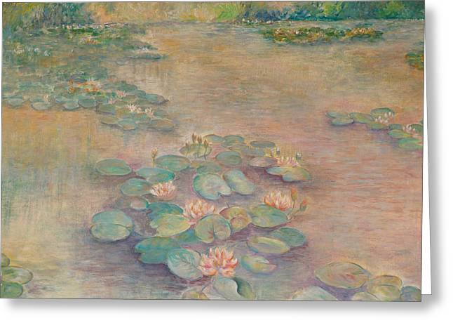 Waterlilies At Dusk Greeting Card by Rita Bentley