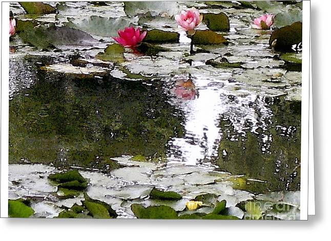Greeting Card featuring the digital art Waterlilies by Victoria Harrington
