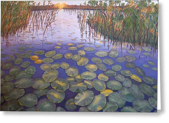 Greeting Card featuring the painting Waterlillies South Africa by Karen Zuk Rosenblatt