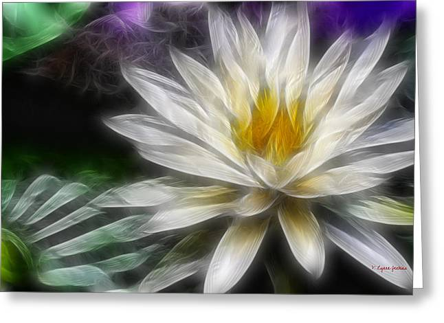 Waterlily In Pseudo-fractal Greeting Card by Lynne Jenkins