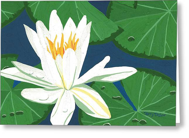 Greeting Card featuring the painting Waterlily by Terry Taylor