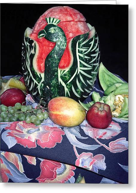 Watermelon Swan Greeting Card by Sally Weigand