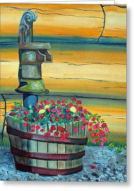 Waterpump And Petunias Greeting Card by Amy Reisland-Speer