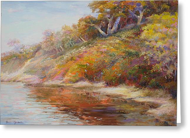 Greeting Card featuring the painting Waters Edge by Bonnie Goedecke