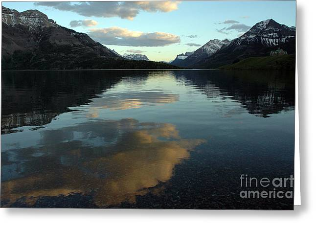 Greeting Card featuring the photograph Waterton Lake Sunset Canada by Vivian Christopher