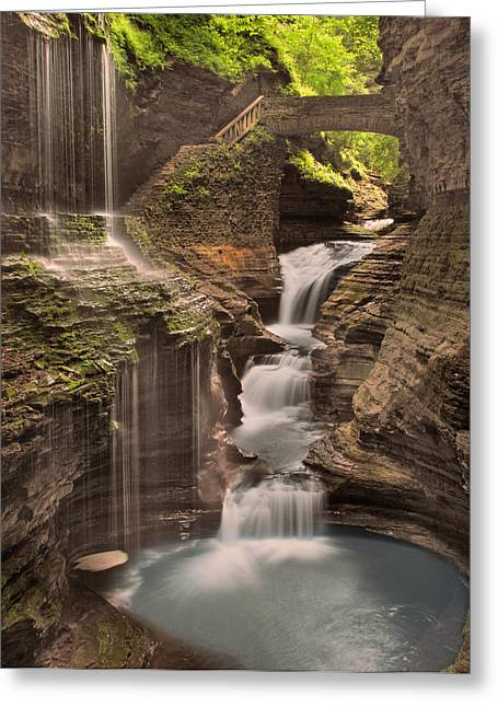 Watkins Glen Gorge Greeting Card by Cindy Haggerty