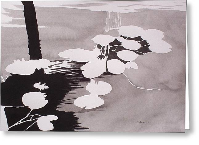 Greeting Card featuring the painting Watrer Lillies by Richard Willows