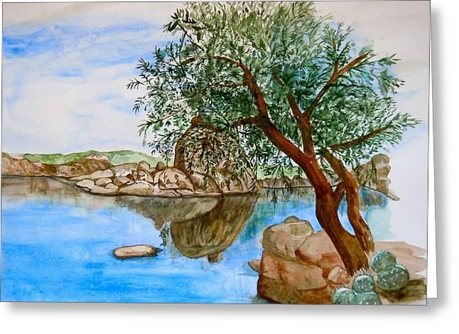 Watson Lake Prescott Arizona Peaceful Waters Greeting Card by Sharon Mick