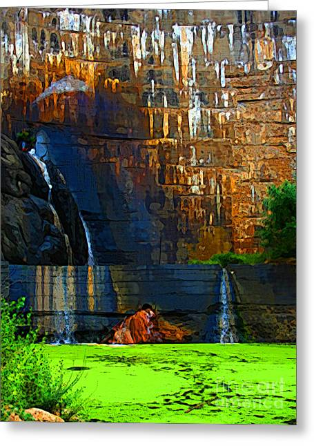 Watson Lake Waterfall Greeting Card by Julie Lueders