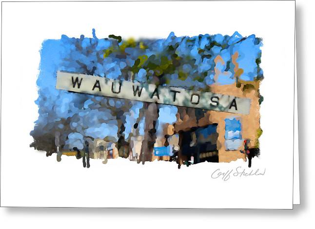 Wauwatosa Railroad Sign Greeting Card by Geoff Strehlow