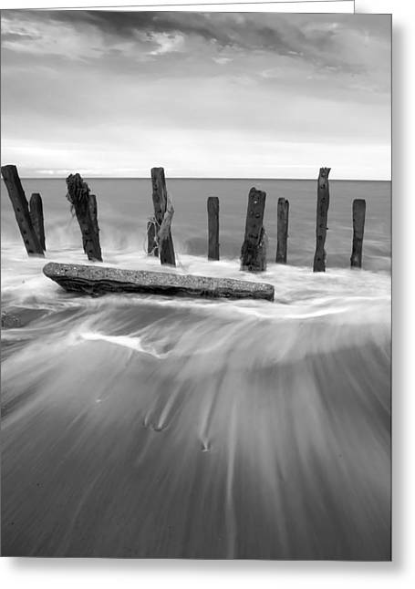 Wave In Black And White Greeting Card by Svetlana Sewell