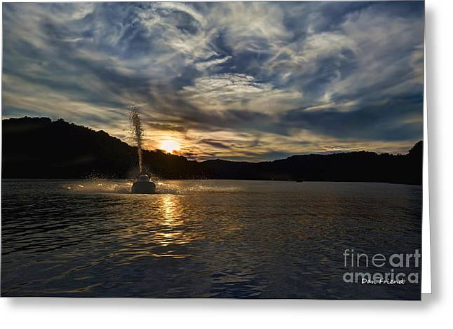 Wave Runner On Lake Evening Greeting Card by Dan Friend