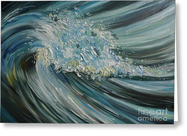 Greeting Card featuring the painting Wave Whirl by Julie Brugh Riffey