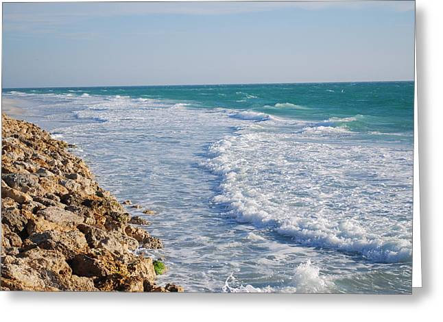 Waves At The Beach Greeting Card by Carrie Munoz
