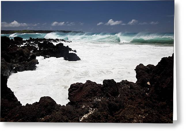 Waves Breaking On Lava Rocks Greeting Card