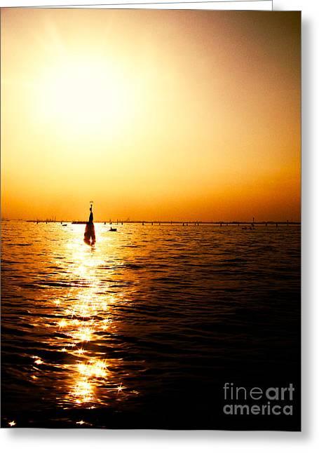 Waves Of Light Greeting Card by Venura Herath