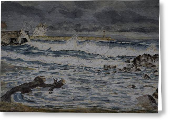 Greeting Card featuring the painting Waves On The Pier by Rob Hemphill