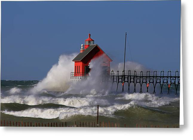Waves Over The Grand Haven Outer Light Greeting Card