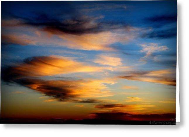 Wavy Sunset Clouds Greeting Card by Aaron Burrows