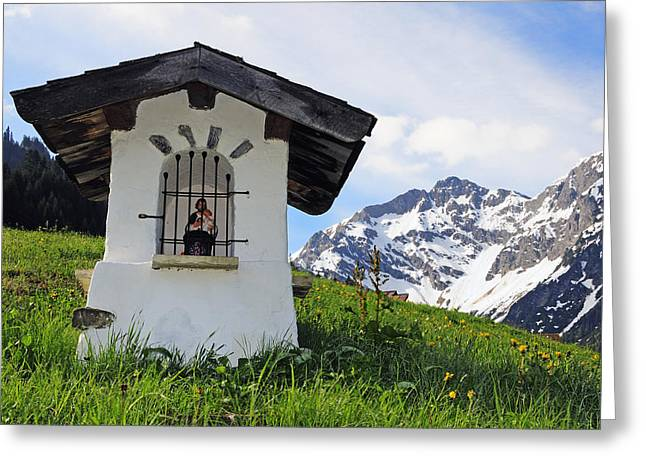 Wayside Shrine In The Mountains Greeting Card by Matthias Hauser