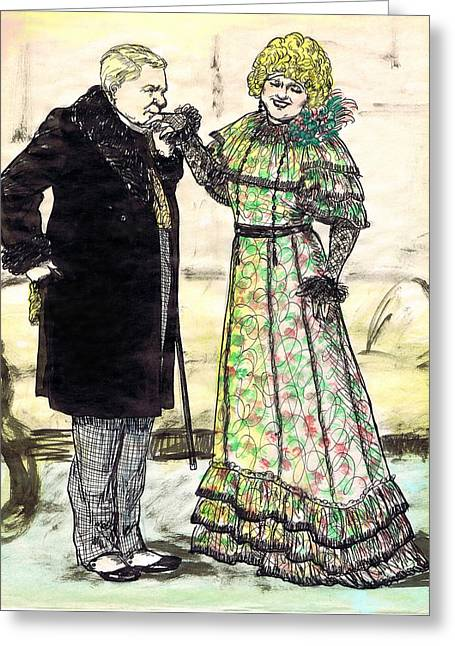 W.c.fields And Jan Greeting Card by Mel Thompson