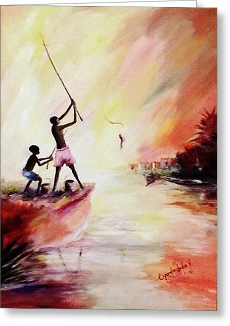 Greeting Card featuring the painting We Fished by Oyoroko Ken ochuko