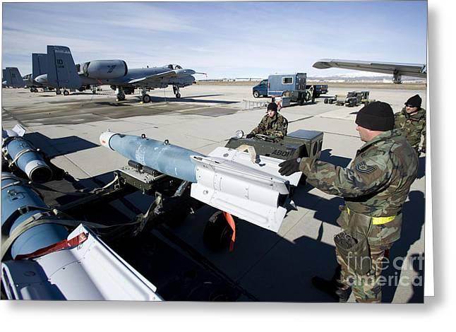Weapons Crews Load A Gbu-12 Laser Greeting Card