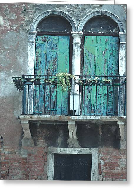 Weathered Venice Porch Greeting Card by Tom Wurl