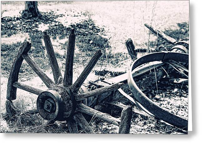 Weathered Wagon Wheel Broken Down Greeting Card by Tracie Kaska