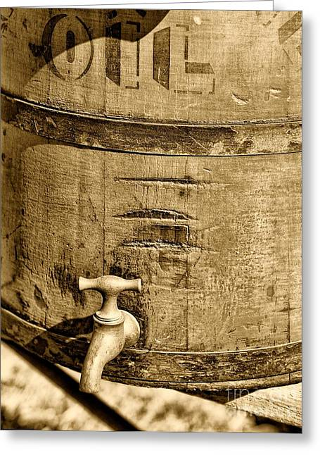 Weathered Wooden Bucket In Sepia Greeting Card by Paul Ward
