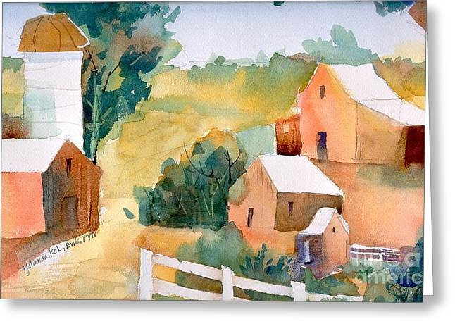 Greeting Card featuring the painting Webster Barn by Yolanda Koh