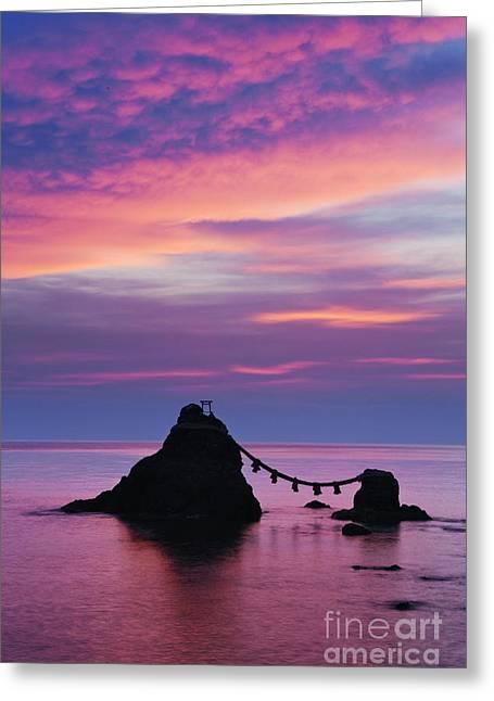 Wedded Rocks Of Futami Greeting Card by Jeremy Woodhouse