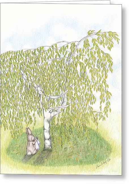 Weeping Birch Greeting Card by Elaine Read-Cole