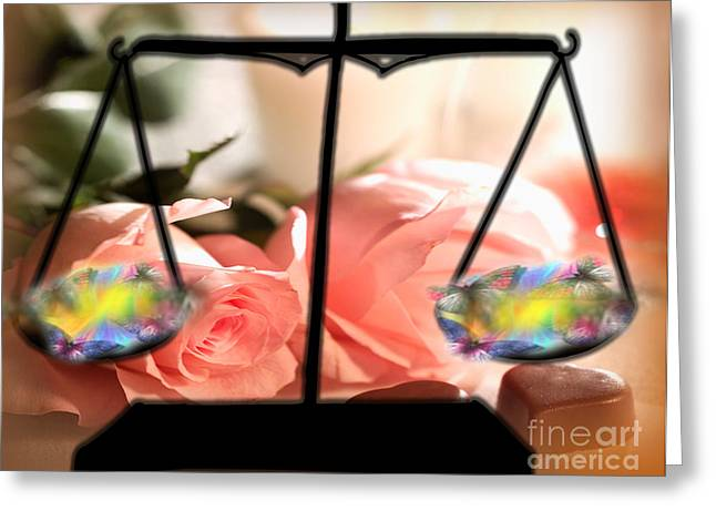 Weighing Beauty Greeting Card