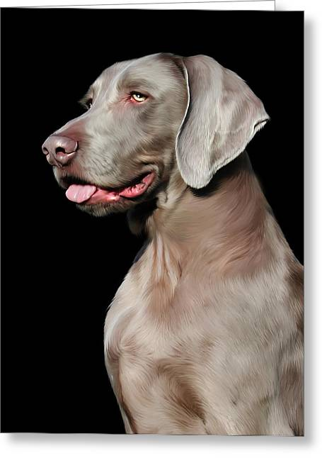 Weimaraner  Greeting Card by Julie L Hoddinott
