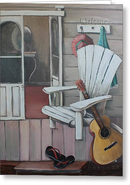 Welcome To The Beach House Greeting Card by Kathy  Karas