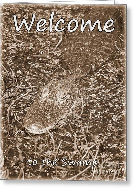 Welcome To The Swamp - Sepia Greeting Card