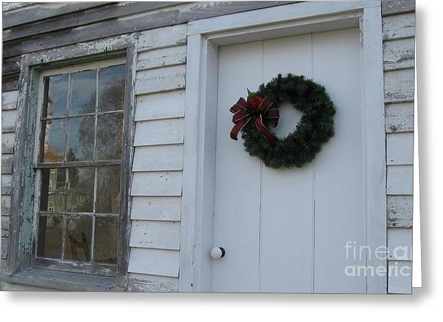 Welcoming Wreath  Greeting Card by Nancy Patterson