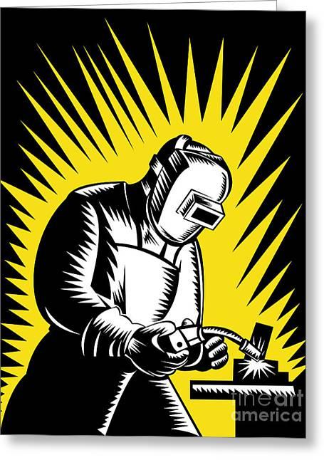 Welder Metal Worker Welding Retro  Greeting Card by Aloysius Patrimonio