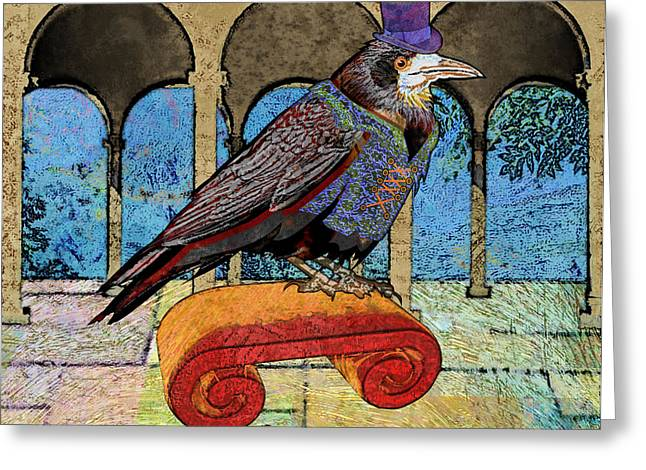 Well Dressed Raven Greeting Card by Mary Ogle