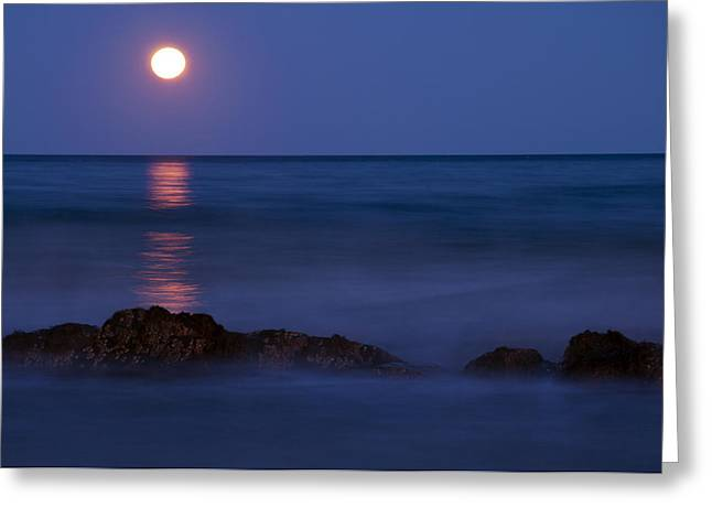 Wells Beach Maine Moonrise Greeting Card