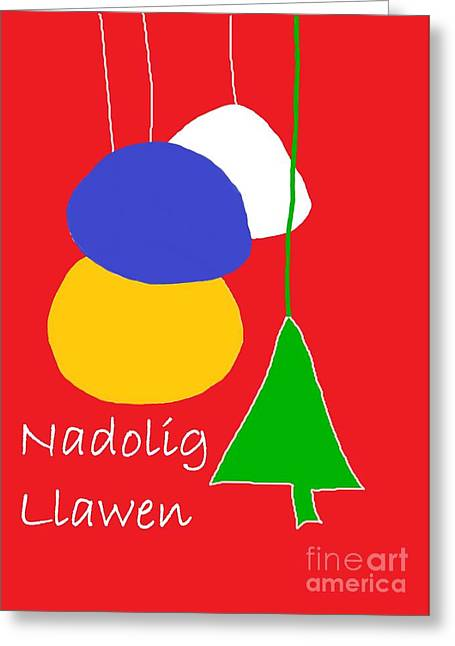 Greeting Card featuring the digital art Welsh Christmas Card by Barbara Moignard