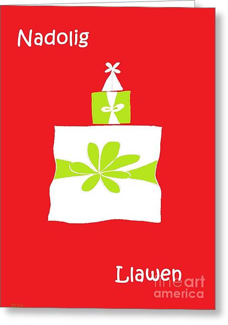 Greeting Card featuring the digital art Welsh Merry Christmas Red by Barbara Moignard
