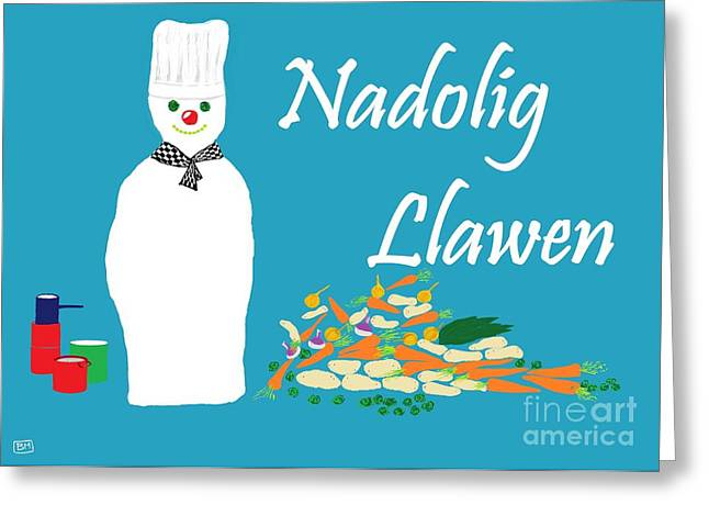 Greeting Card featuring the digital art Welsh Snowman Chef by Barbara Moignard