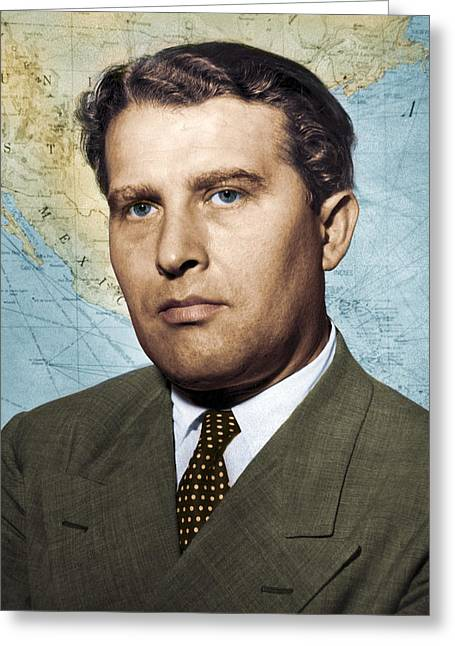 Wernher Von Braun, German Rocket Pioneer Greeting Card by Detlev Van Ravenswaay