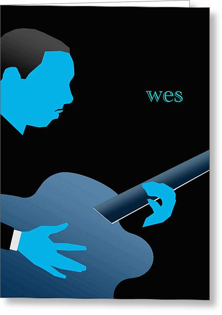 Wes Montgomery Blue Greeting Card by Victor Bailey
