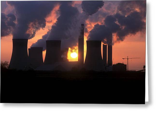 West Burton Power Station, Uk Greeting Card by Martin Bond