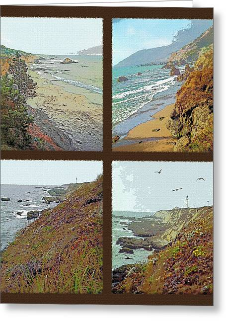 West Coast Tetraptych Greeting Card by Steve Ohlsen
