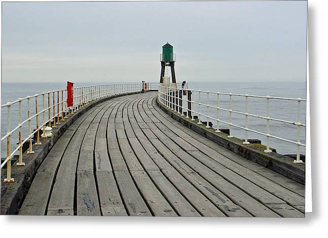 West Pier And Beacon Greeting Card by Rod Johnson